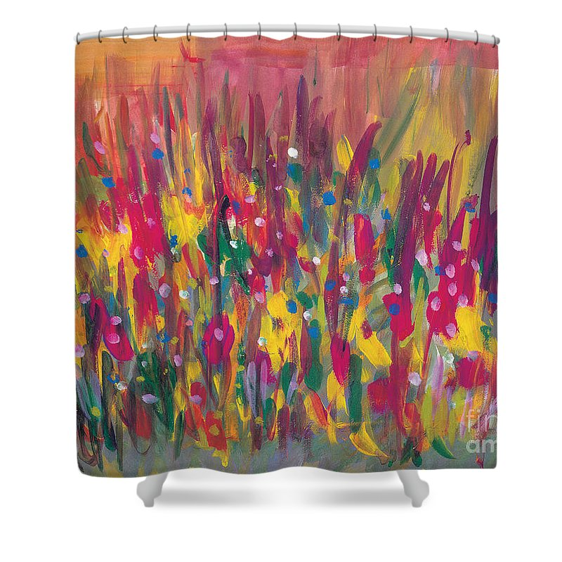 Contemporary Shower Curtain featuring the painting Distortion by Bjorn Sjogren