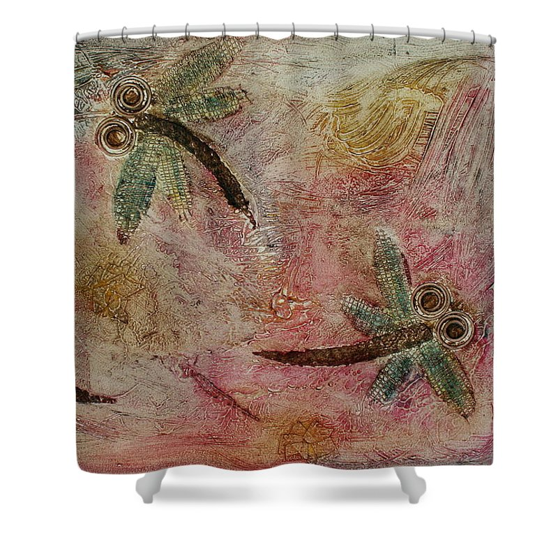 Dragonfly Shower Curtain featuring the painting Rustic Dragonflies Pinks by Lyndsey Hatchwell