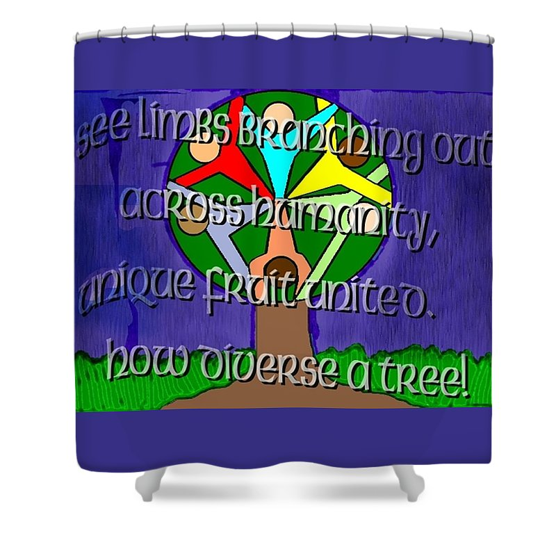Diversity Shower Curtain featuring the painting Diversity Tree by Pharris Art