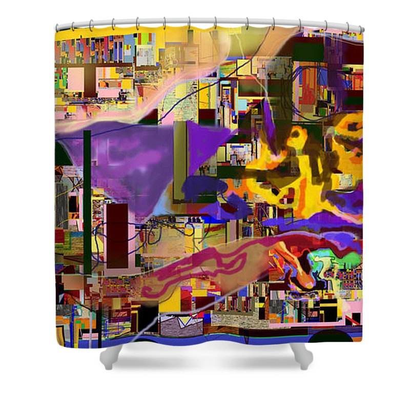 Torah Shower Curtain featuring the digital art Divinely Blessed Marital Harmony 16f by David Baruch Wolk
