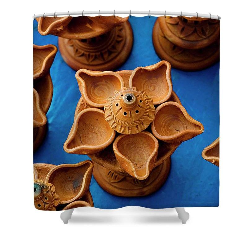 Child's Play Clay Shower Curtain featuring the photograph Diya by Tapasbiswasphotography