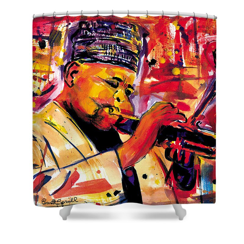 Dizzy Gillespie Shower Curtain featuring the painting Dizzy Gillespie by Everett Spruill