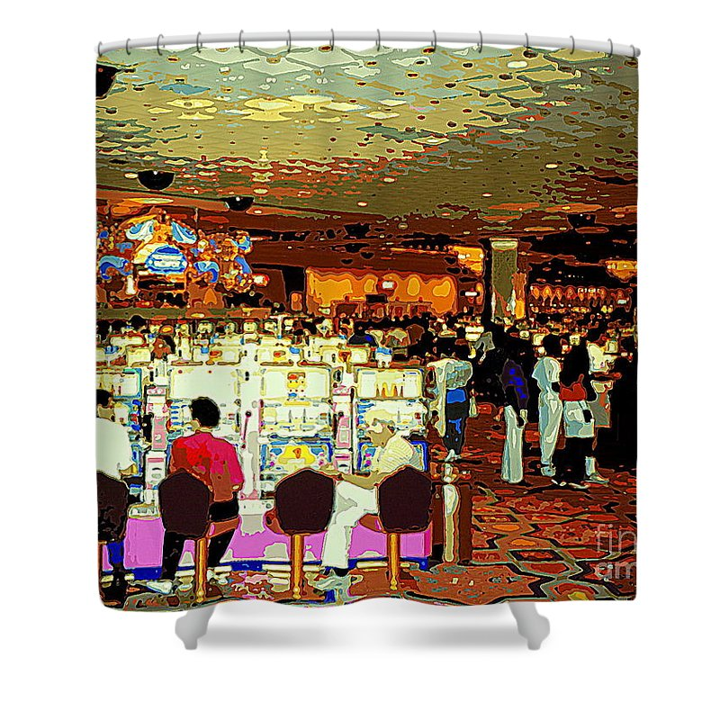 colorful casino scenes shower curtain featuring the painting do you come here often casino slot