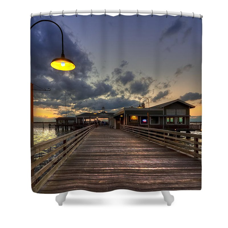 dock lights at jekyll island shower curtain for sale by debra and, Reel Combo