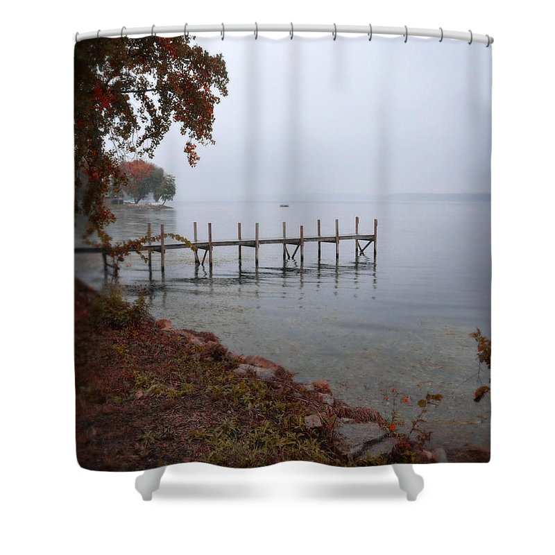 Water Shower Curtain featuring the photograph Dock On A Lake In Autumn by Jill Battaglia
