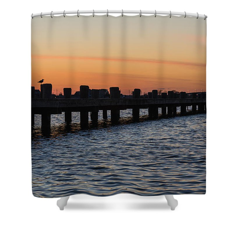 New Jersey Shower Curtain featuring the photograph Dock Side by Kristopher Schoenleber