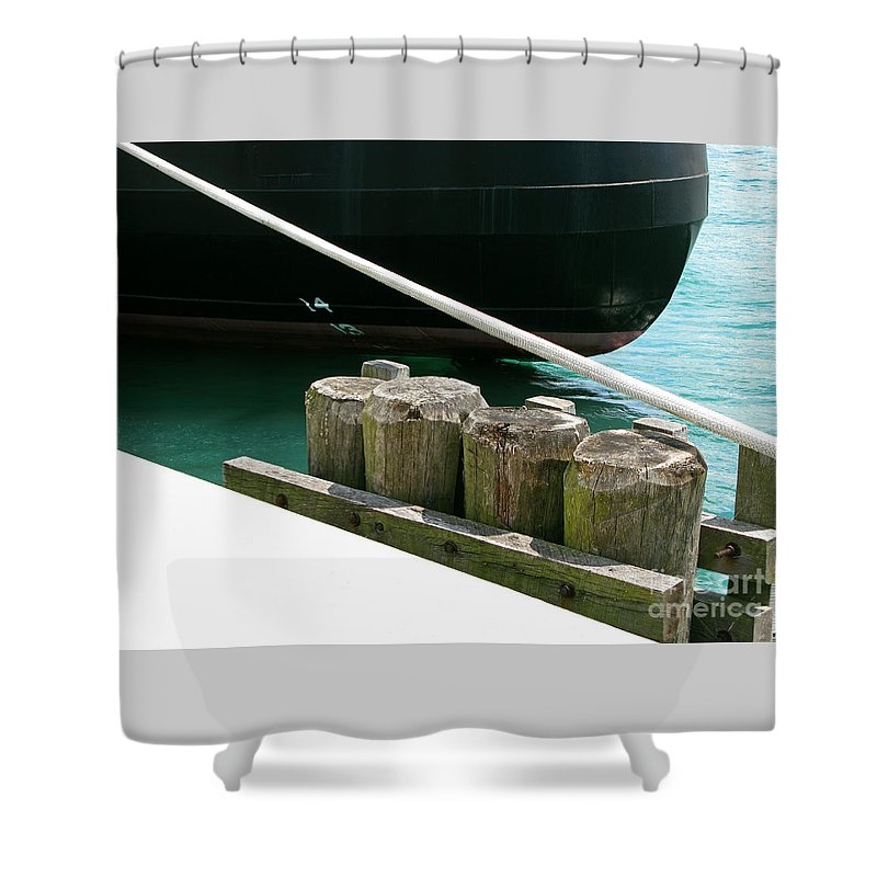 Ship Shower Curtain featuring the photograph Docked by Ann Horn