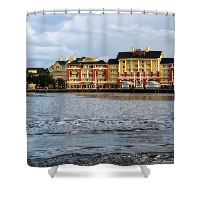 Boardwalk Shower Curtain featuring the photograph Docked At The Boardwalk Walt Disney World by Thomas Woolworth