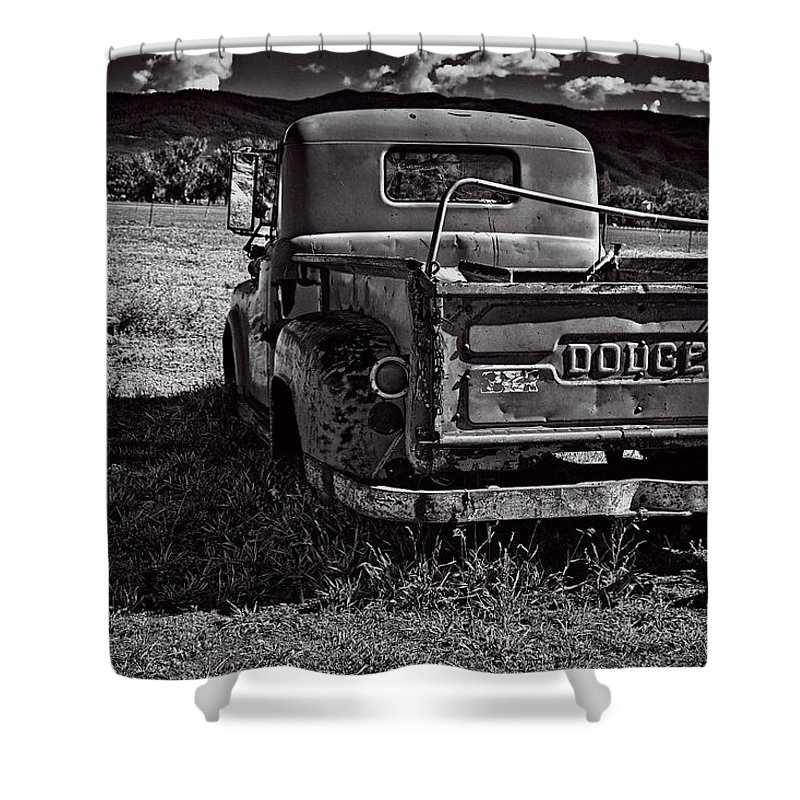 Old Shower Curtain featuring the photograph Dodge In The Zone by Charles Muhle