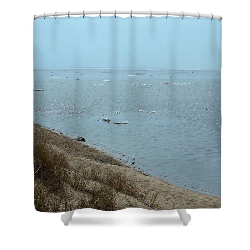 Great Lakes Shower Curtain featuring the photograph Dog In Icy Water by Linda Kerkau
