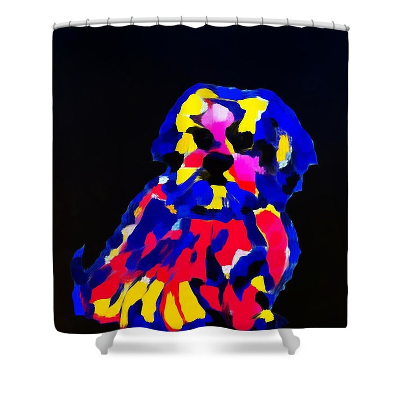 Dog Shower Curtain featuring the painting dog-Lahasa Apsos Tibetin Pooch Impression by Saundra Myles