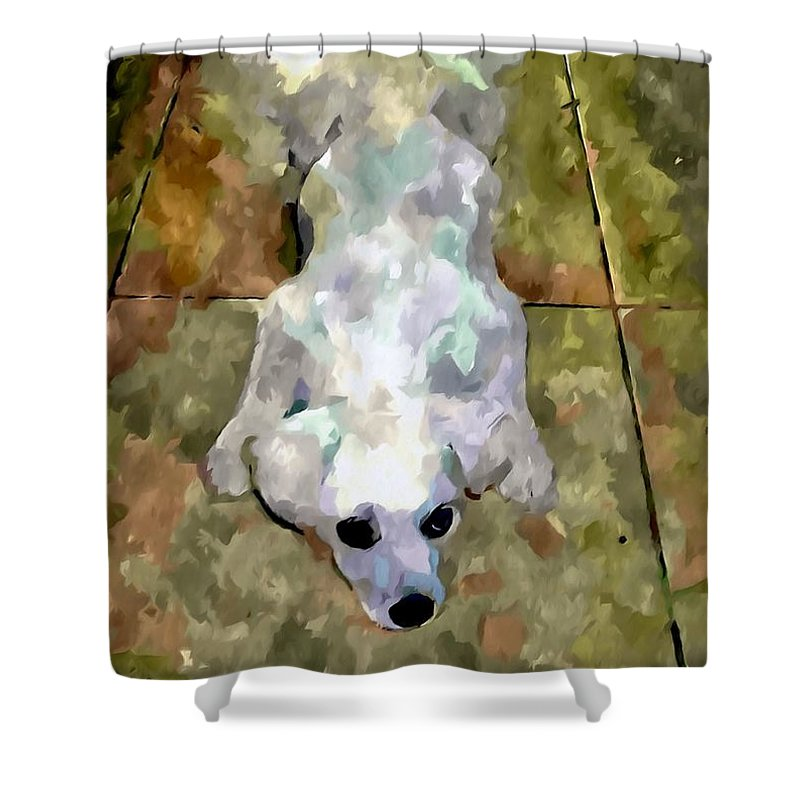 Dog Lying On Floor Shower Curtain featuring the painting Dog Lying On Floor by Jeelan Clark
