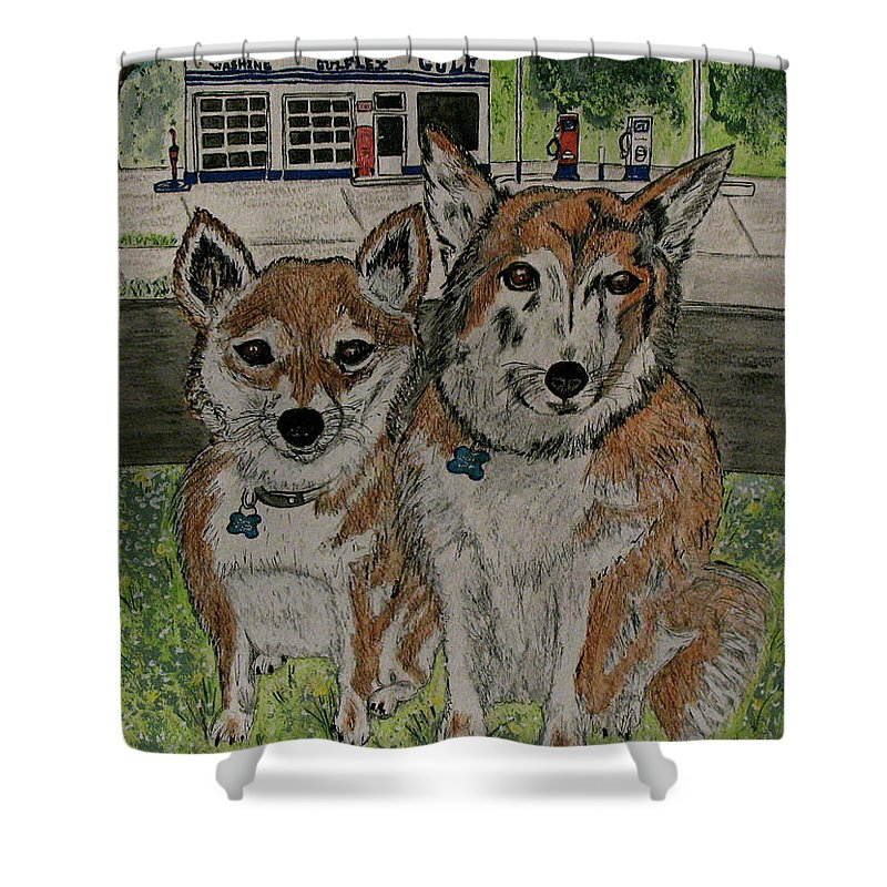 Dogs Shower Curtain featuring the painting Dogs In Front Of The Gulf Station by Kathy Marrs Chandler