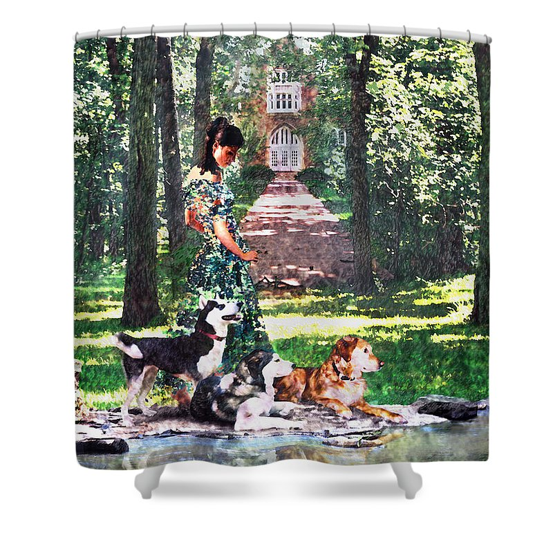 Landscape Shower Curtain featuring the photograph Dogs Lay At Her Feet by Steve Karol