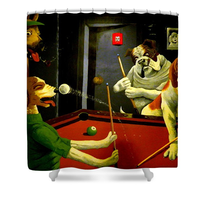 Pool Shower Curtain Featuring The Photograph Dogs Playing Pool Wall Art  Unknown Painter By Kathy Barney