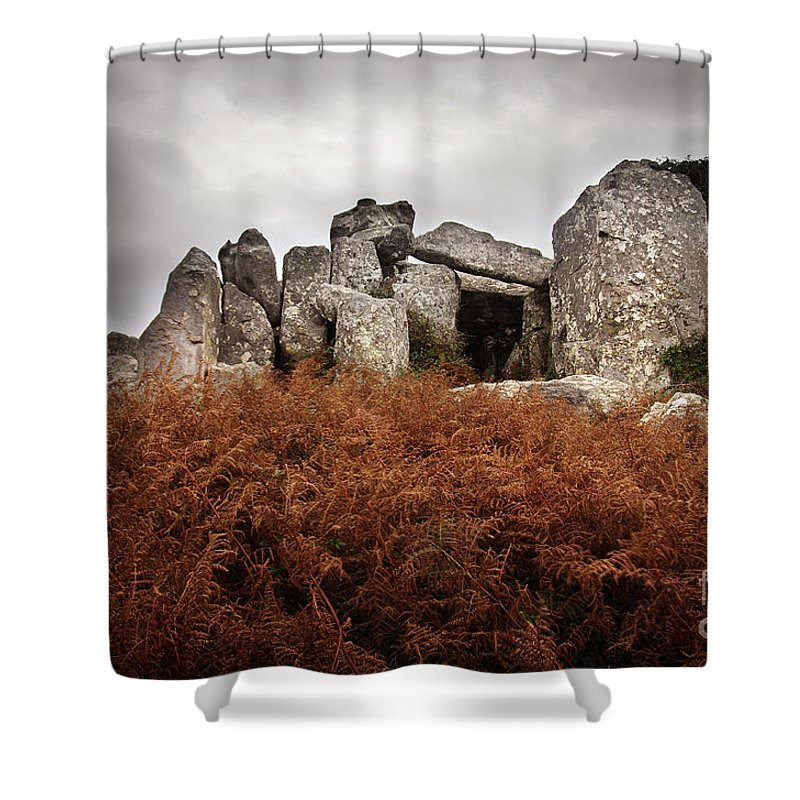 Portugal Shower Curtain featuring the photograph Dolmen by Carlos Caetano