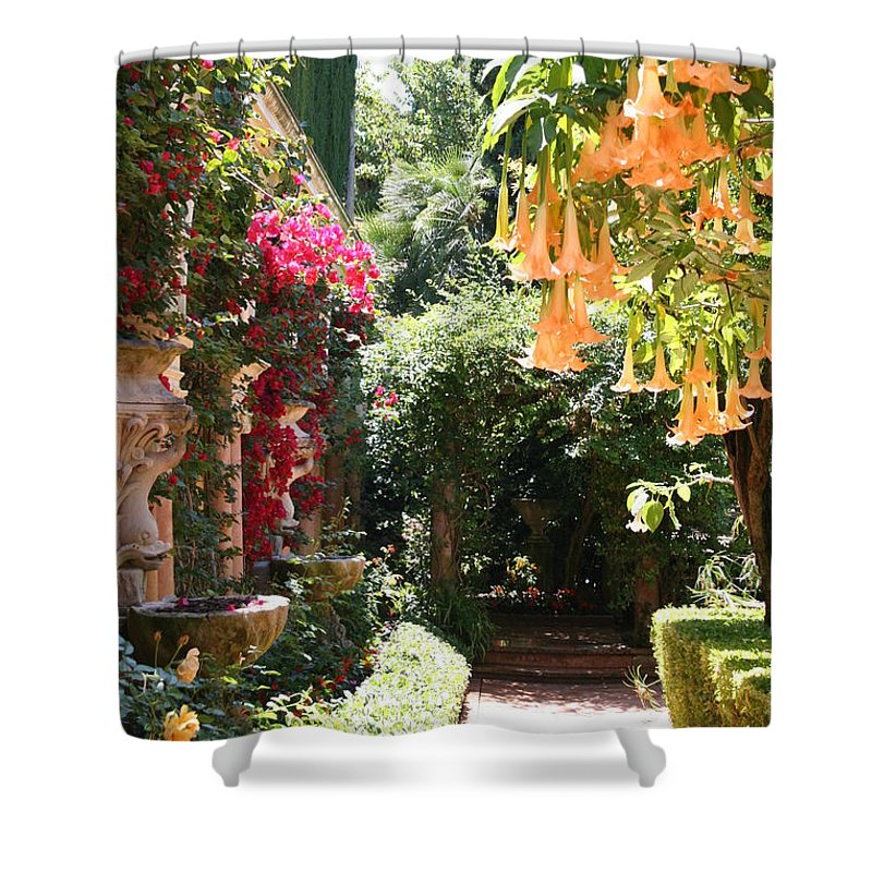 Dolphinfountain Shower Curtain featuring the photograph Dolphinfountain And Flowers - France by Christiane Schulze Art And Photography