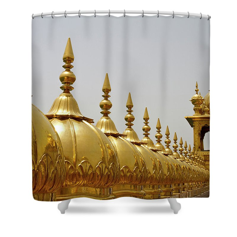 Tranquility Shower Curtain featuring the photograph Domes At Golden Temple by *swatikulkarni*