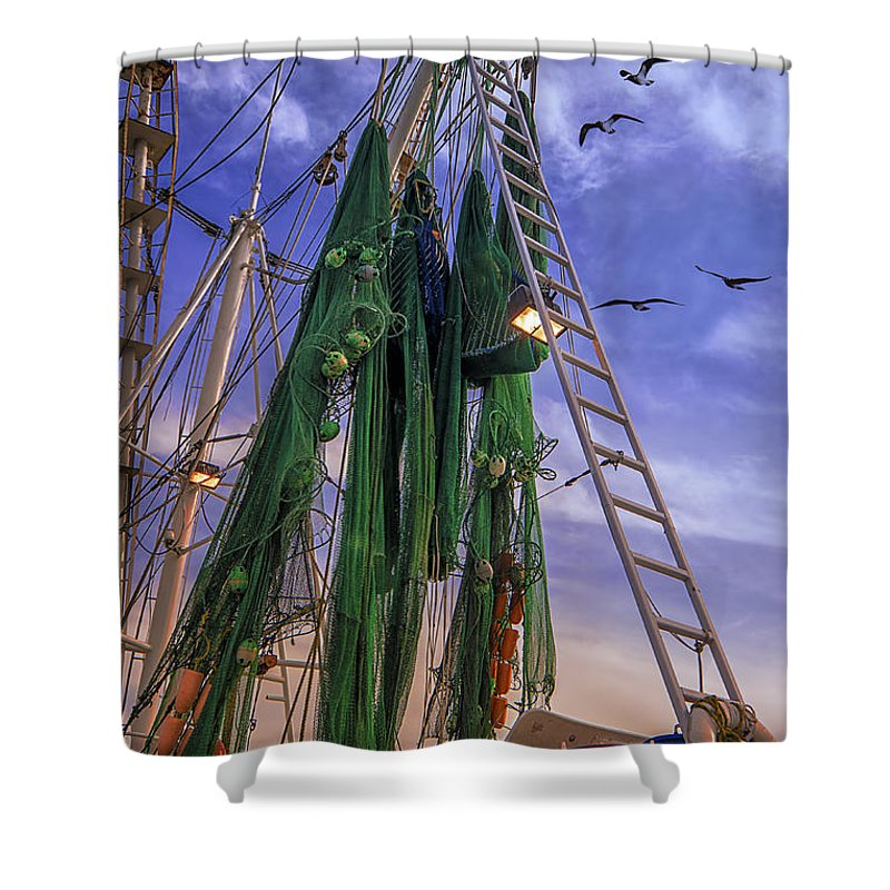 Shrimp Boat Shower Curtain featuring the photograph Done Shrimping At Tybee Island by Priscilla Burgers