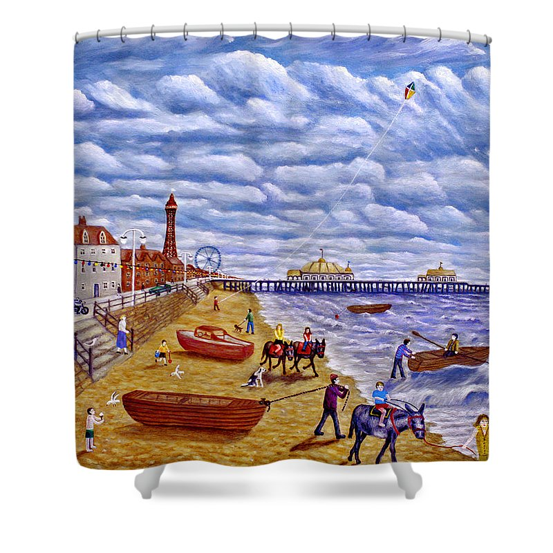 Blackpool Shower Curtain featuring the painting Donkey Rides On Blackpool Beach by Ronald Haber