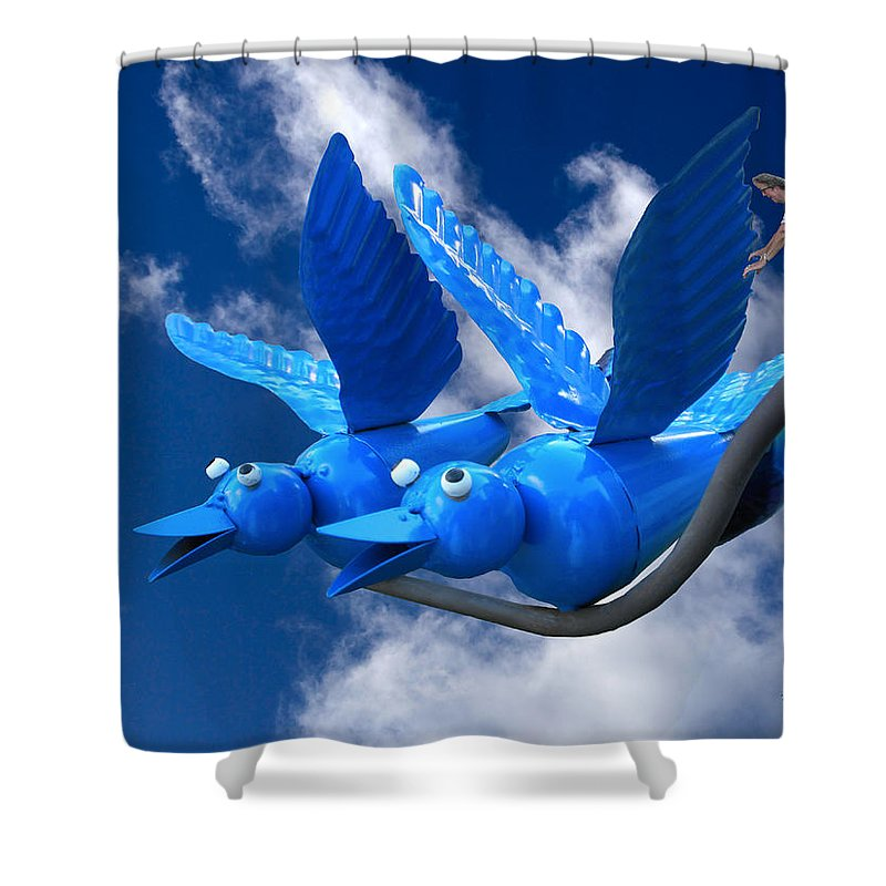Blue Bird Shower Curtain featuring the photograph Donna's 1st Blue Bird Flight by Thomas Woolworth