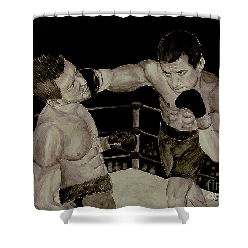 Boxing Shower Curtain featuring the painting Donovan Boxing by Tamir Barkan