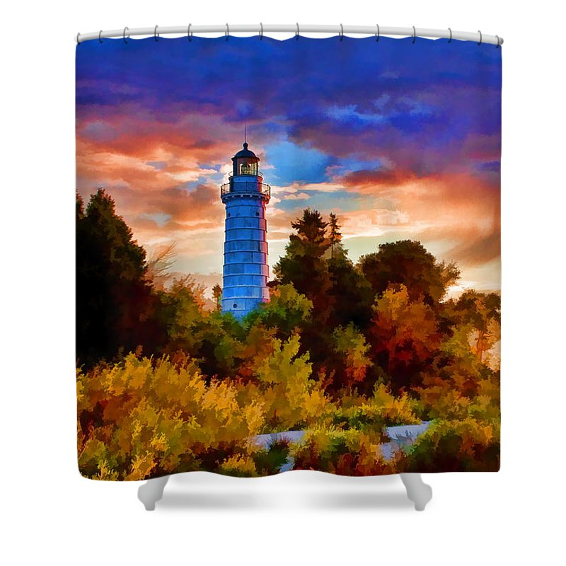 Cana Island Shower Curtain featuring the painting Door County Cana Island Wisp by Christopher Arndt