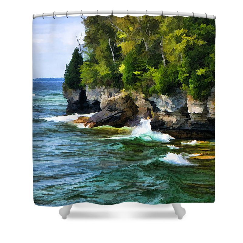 Cave Point Shower Curtain featuring the painting Door County Cave Point Cliffs by Christopher Arndt