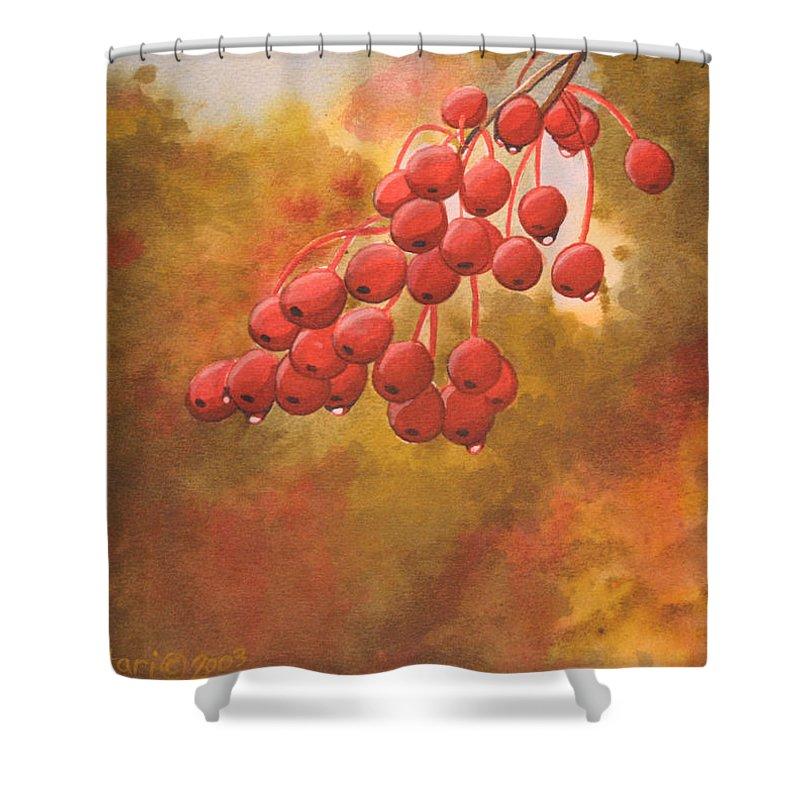 Rick Huotari Shower Curtain featuring the painting Door County Cherries by Rick Huotari