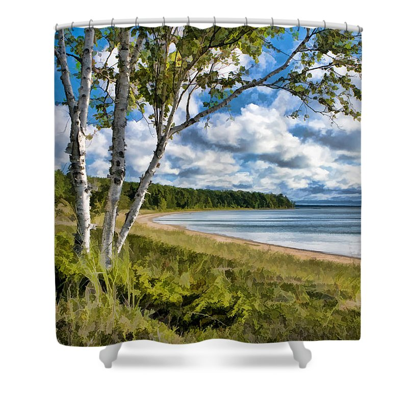 Door County Shower Curtain featuring the painting Door County Europe Bay Birch by Christopher Arndt
