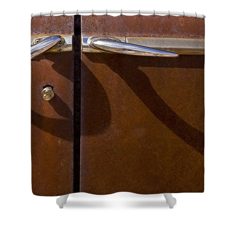 Auto Door Handles Shower Curtain featuring the photograph Door Handle Shadows  #0969 by J L Woody Wooden