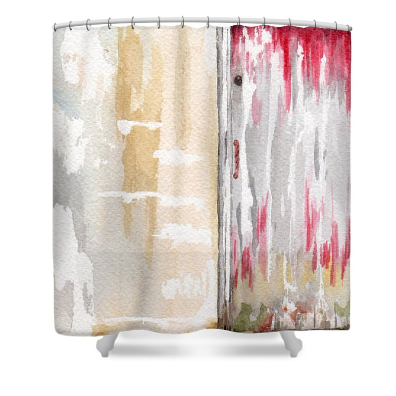 Door Shower Curtain featuring the mixed media Door Series - Door 1 by Judith Rice