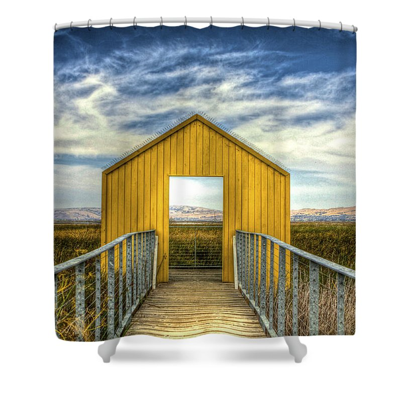 Alviso Shower Curtain featuring the photograph Door To The Marshlands by SC Heffner