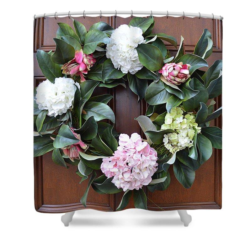 Door Wreath Shower Curtain featuring the photograph Door Wreath by Linda Covino