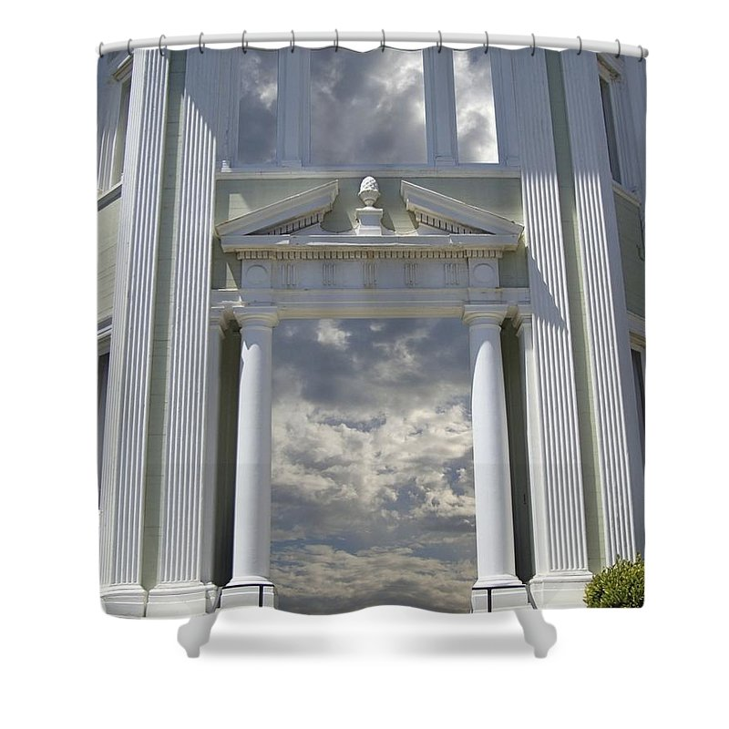 Clouds Shower Curtain featuring the mixed media Doorway 39 by Karma Moffett