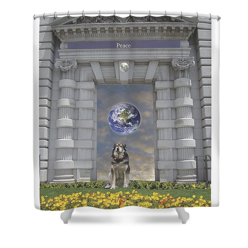 Clouds Shower Curtain featuring the mixed media Doorway 42 by Karma Moffett