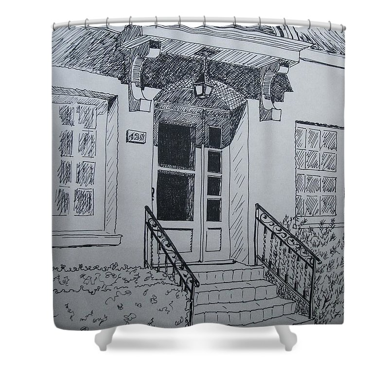 Pen And Ink Shower Curtain featuring the drawing Doorway by Mary Ellen Mueller Legault