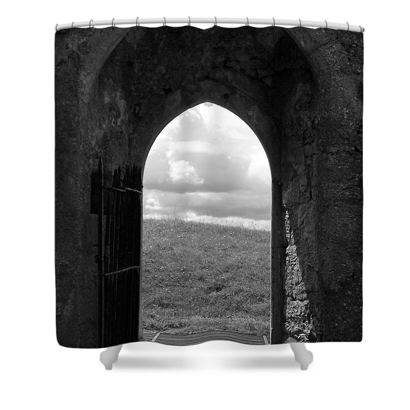 Black And White Shower Curtain featuring the photograph Doorway To Irish Landscape 1 by Denise Mazzocco