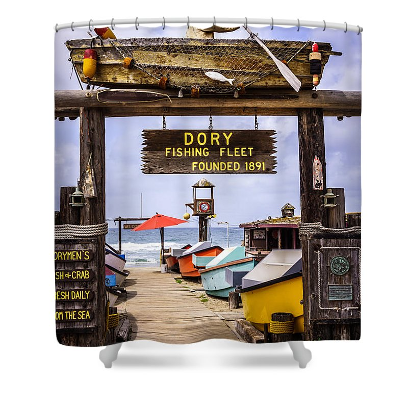 America Shower Curtain featuring the photograph Dory Fishing Fleet Market Newport Beach California by Paul Velgos