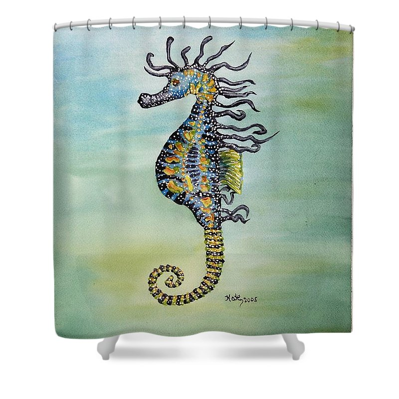 Seahorse Shower Curtain Featuring The Painting Dot By Kathy Przepadlo