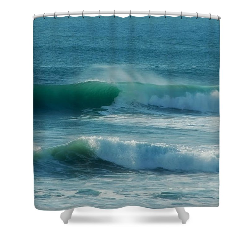 Waves Shower Curtain featuring the photograph Double Action by Donna Blackhall