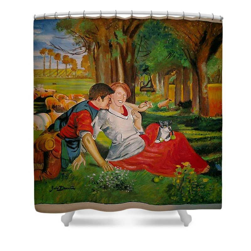 Shower Curtain featuring the painting double portrait of freinds Gunner and Jessie by Jude Darrien