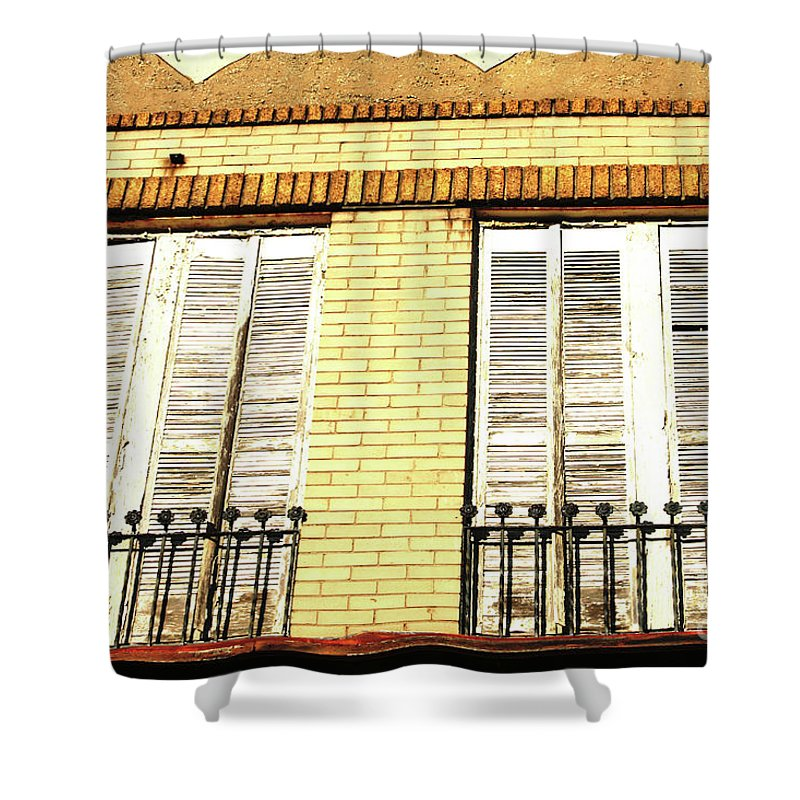 Buidling Shower Curtain featuring the photograph Double Window Work by Karol Livote