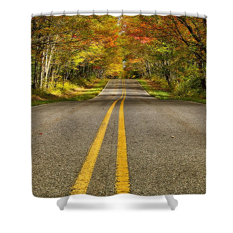 Double Yellow Shower Curtain featuring the photograph Double Yellow by Rachel Cohen