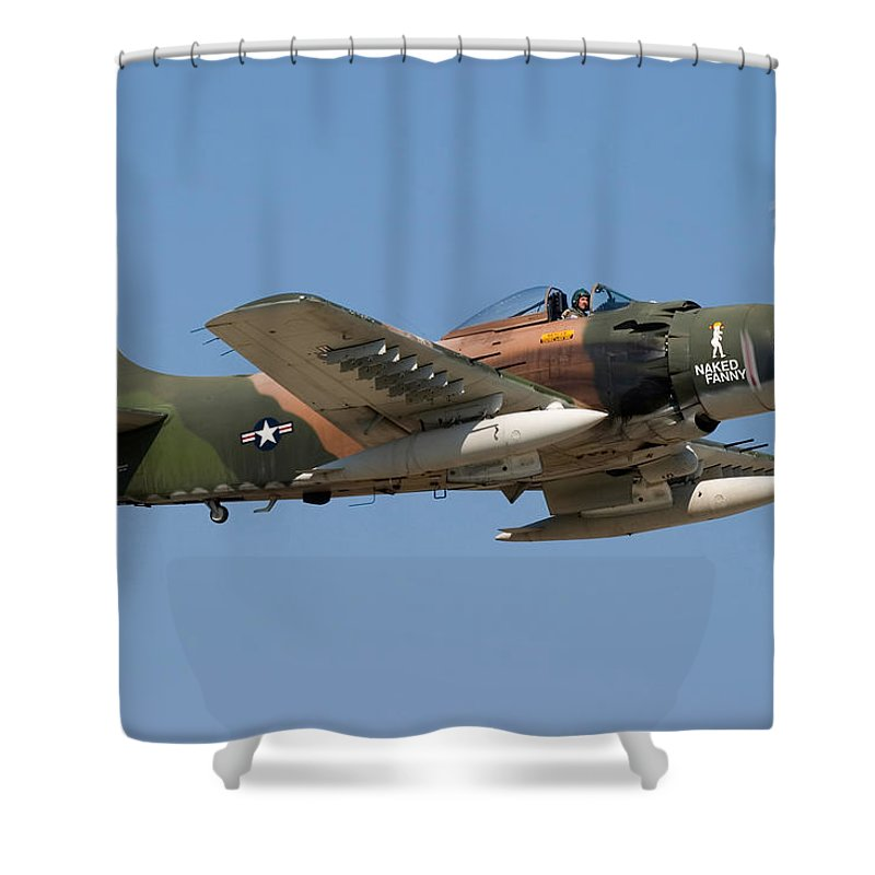 3scape Shower Curtain featuring the photograph Douglas Ad-4 Skyraider by Adam Romanowicz