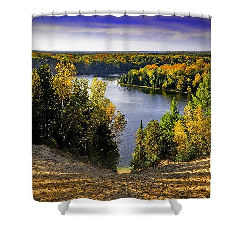 Usa Shower Curtain featuring the photograph Down Hill Into Fall by LeeAnn McLaneGoetz McLaneGoetzStudioLLCcom