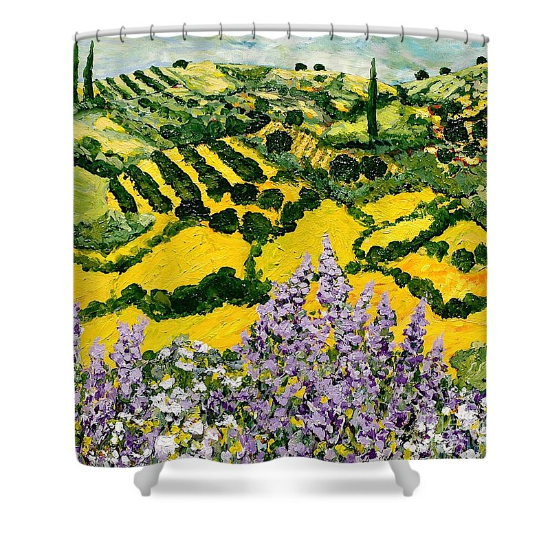 Landscape Shower Curtain featuring the painting Down The Hill by Allan P Friedlander