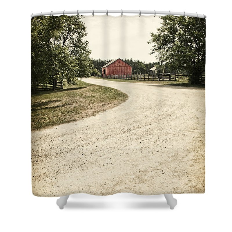 Old; Farm; Barn; Rural; Landscape; Outside; Outdoors; Roof; Fence; Barrier; Pasture; Field; Country; Countryside; Red; Painted; Wood; Wooden; Weeds; Grasses; Trees; Summer; Leaves; Road; Drive; Driveway; Dirt; Street Shower Curtain featuring the photograph Down The Road by Margie Hurwich