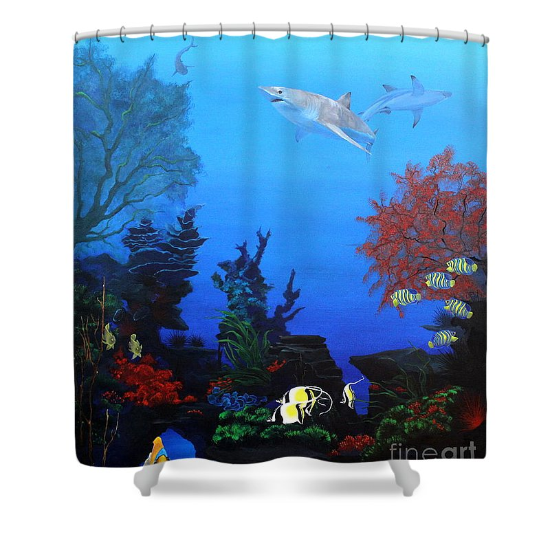 Dlgerring Shower Curtain featuring the painting Down Under by D L Gerring