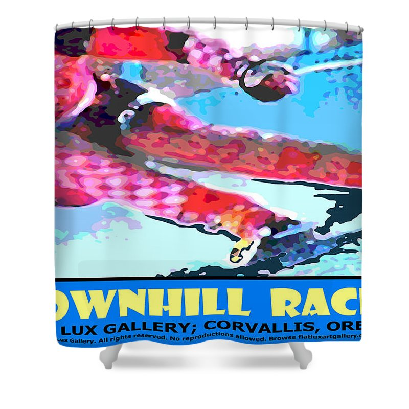 Skiing Shower Curtain featuring the digital art Downhill Racer by Michael Moore